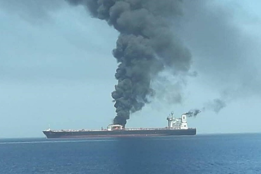 Two oil tankers damaged after 'reported attack' in Gulf of Oman, US says