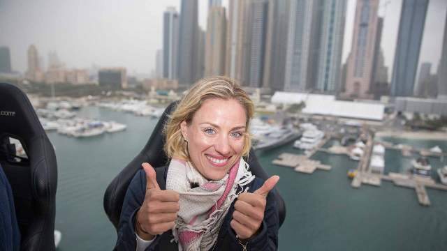 World number two Angelique Kerber enjoys Dinner in the Sky