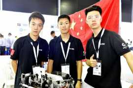 Young Chinese techies imitate human hand movement at FIRST Global Challenge 2019 in Dubai