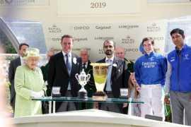Mohammed bin Rashid receives trophy from Queen Elizabeth II on historic Royal Ascot win