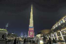Burj Khalifa lit up with colours of Sri Lankan flag