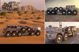 10-wheel hybrid truck out of Jeep Wrangler and giant military vehicle builds in UAE (Video)