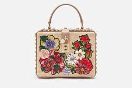 杜嘉班纳DOLCE BOX 缝线刺绣拉菲草编织手袋