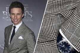 Eddie Redmayne flaunts the OMEGA Globemaster at Fantastic Beasts premiere