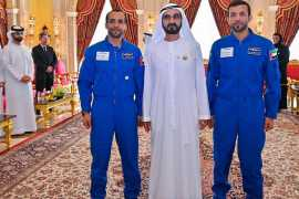 Sheikh Mohammed meets the men training to carry the UAE flag into space for the first time