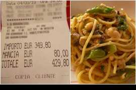 Stunned Japanese tourists are charged £380 for two plates of spaghetti and fish in Rome
