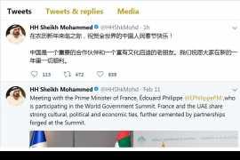 迪拜酋长发推祝贺全球华人春节快乐